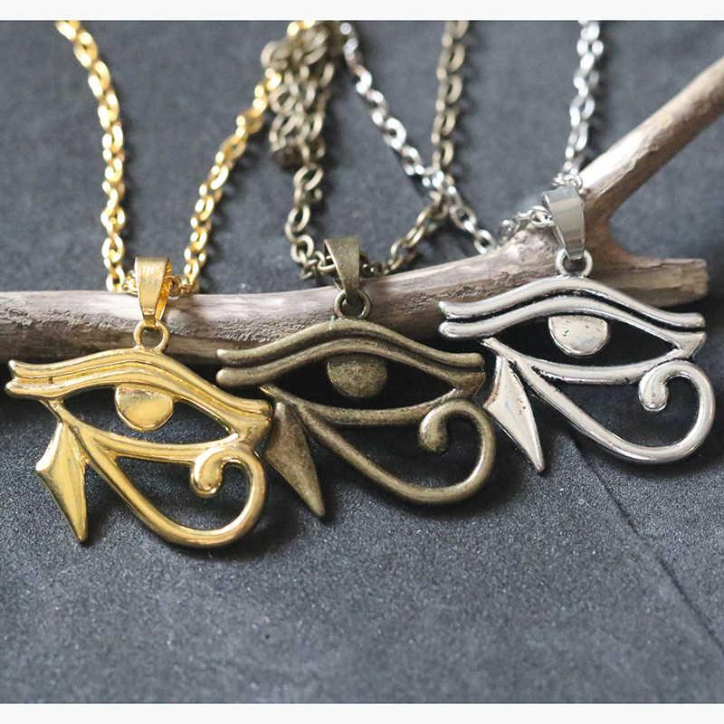 Egipski Amulet ochrona naszyjniki dla kobiet mężczyzn srebrny złoty brąz kolor oko horusa naszyjnik wisiorek choker w stylu vintage