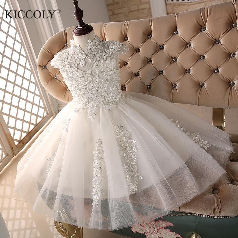 Glizt Bead White Tulle first communion dresses for girls Vestido Daminha Casamento Luxury Ball Gown Organza Flower Girl Dresses