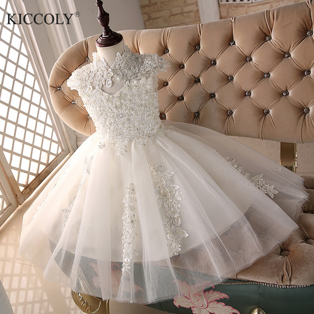 d61f44ee87 US $30.1 30% OFF Glizt Bead White Tulle first communion dresses for girls  Vestido Daminha Casamento Luxury Ball Gown Organza Flower Girl Dresses-in  ...
