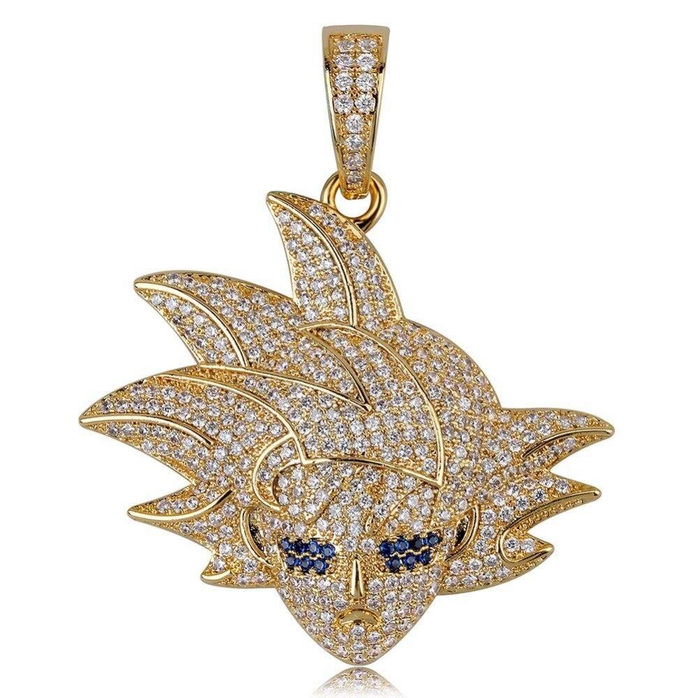 Hip Hop Bling Ice Out AAA CZ Zircon Dragon Ball personnages de bande dessinée souper Saiyan GOKU pendentif collier hommes rappeur bijoux - 4