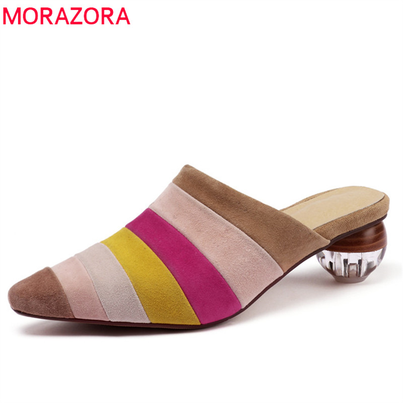 MORAZORA 2019 new arrival kid suede leather women pumps mixed colors slip on mules shoes fashion