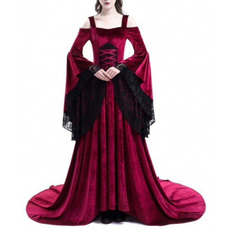 Women Retro Vintage Renaissance Gothic Costume Medieval Gown Long Dress Photography Clothes
