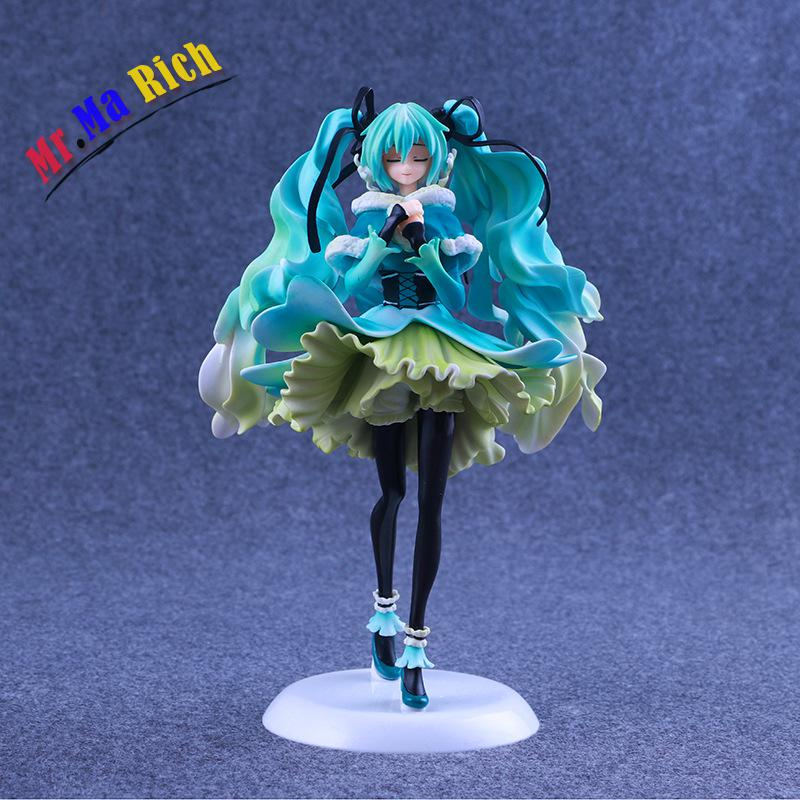 Japan Anime Doll Vocaloid Hatsune Miku Snow In Summer 1/7 Scale Pvc Action Figure Collectible Brinquedos Kids Toys Juguetes 28cm hot racing girl hatsune miku motorcycle figma pvc anime action figures figura collection boy kid toys juguetes brinquedos wx140