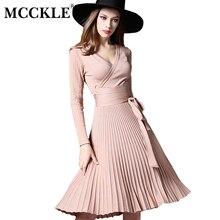 Mcckle/вязаное платье для 2017, женская обувь зима-осень Винтаж глубокий v-образным вырезом высокое качество Элегантные Платья для женщин с бантом сбоку Vestidos