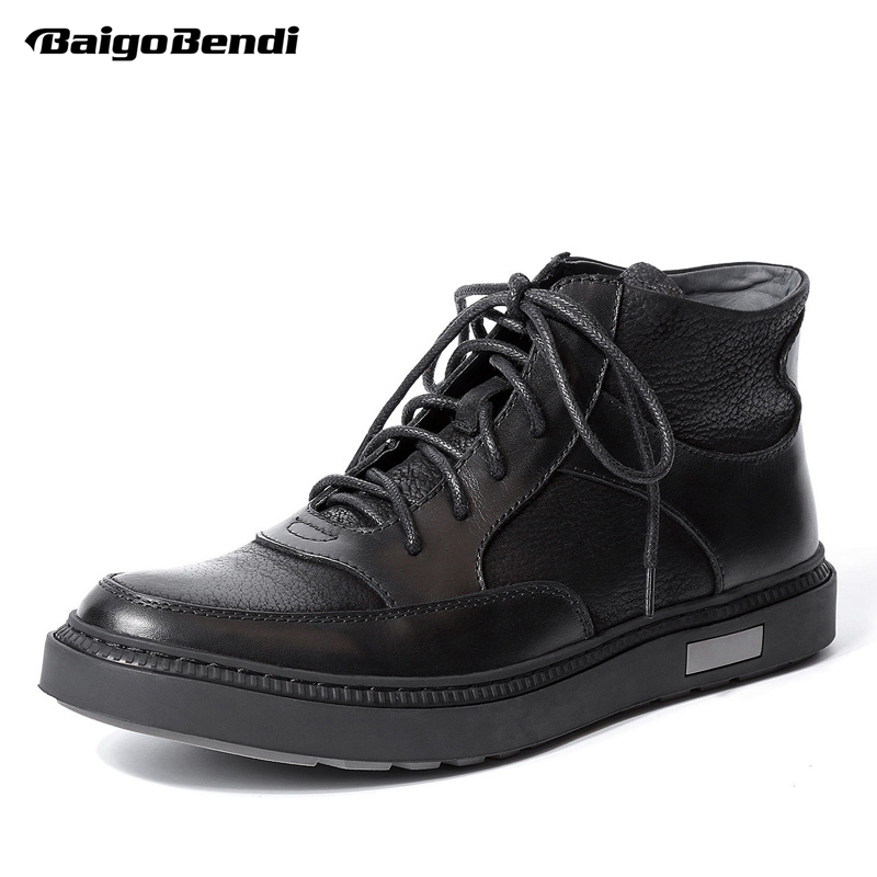 Men Genuine Leather Lace Up Retro Riding Boots Round Toe Boys Students Casual Ankle Boots Fashion Winter Sneakers Shoes