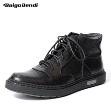 Men Genuine Leather Lace Up Retro Riding Boots Round Toe Boys Students Casual Ankle Boots Fashion Winter Sneakers Shoes цены онлайн