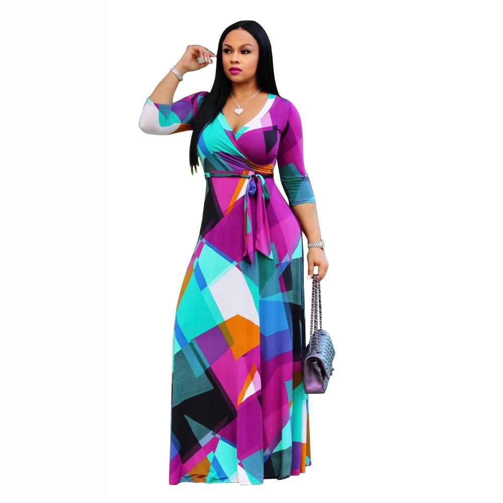 HAOOHU5XL Long Maxi Dress Print Plus Size Sexy Casual Summer Beach Clothes  Women Vestidos Elegant Robe 7ddcbee46444