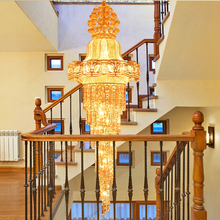 Long Gold Crystal Droplights Crystal Chandelier Lights Fixture Stair Way Home Indoor Lighting Hotel Hanging Lights AC90V-260V