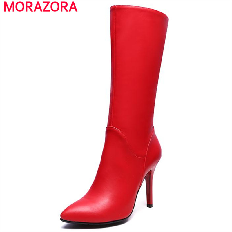 MORAZORA 2018 Autumn new mid calf boots for woman solild two colors zipper women boots pointed toe elegant sexy party shoes new arrival superstar genuine leather chelsea boots women round toe solid thick heel runway model nude zipper mid calf boots l63