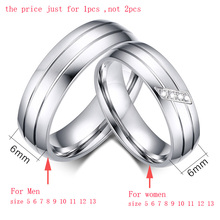 Wedding Rings Stainless Steel Ring Female Male Promise Ring Cubic Zirconia Couple Jewelry