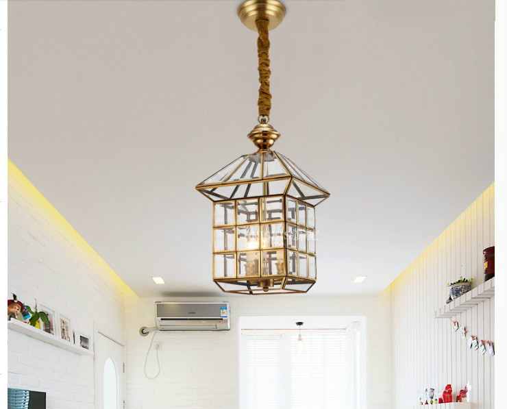Free Shipping Bronze Pendant Lamp Antique Brass Hanging E27 Indoor Vintage Copper Glass Hanging Lamp AC110V/220V 100% Guaranteed
