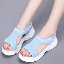 JINBEILEE outdoor summer sandals women fish mouth mesh breathable comfortable black and white shoes