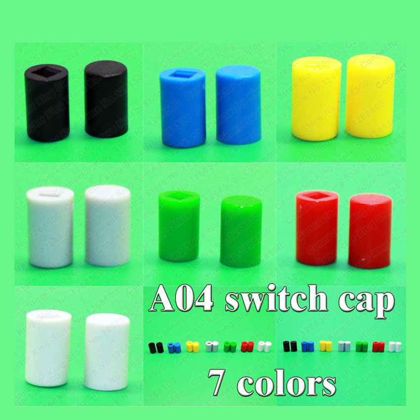 100pcs 7 color A04 Tactile Push Button Switch Cap,tact micro switch button Cap,fit 7*7mm;8*8*mm;8.5*8.5mm 6x6xl 5 6 7 8 9 10 11 12 13 14 15 16 17 18mm 4pin tactile tact push button micro switch direct plug in self reset dip