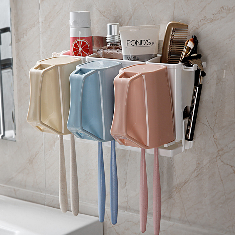 1pcs Wall Mount Paste Snap Type Gargle Toothbrush Holder Storage Bathroom Suite Creative Wall Toothbrush Holder Cups