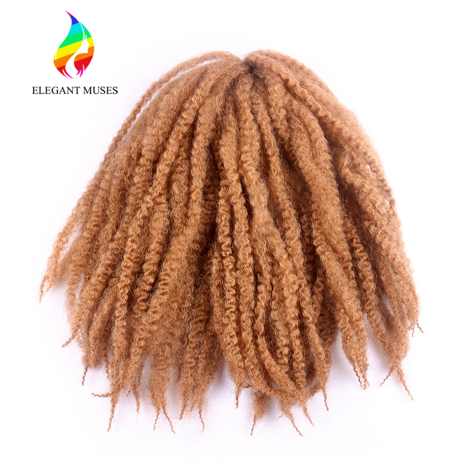 ELEGANT MUSES 18 Inch Afro Marley Braids Hair Extensions Synthetic Fiber Braiding Hair Crochet Braid Hairstyle 30strands/pc