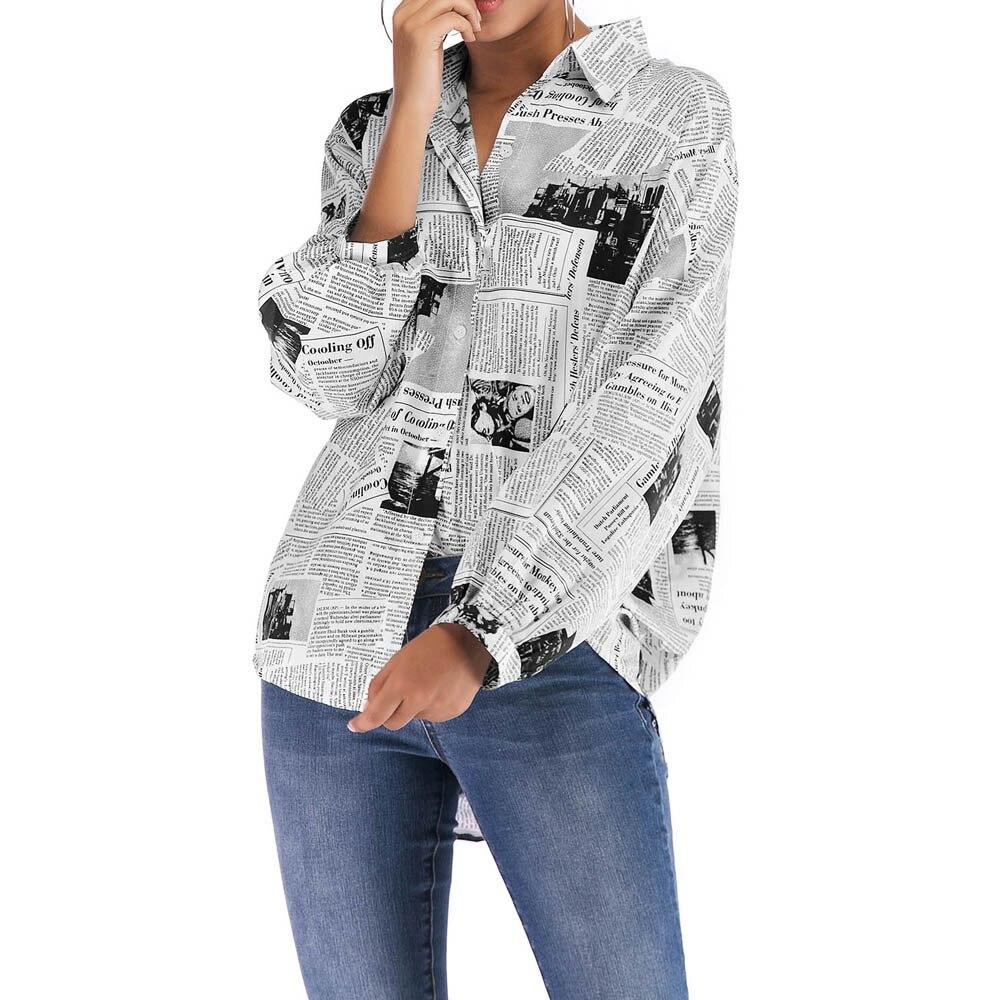 2019 Fashion Newspaper Print Women   Blouse     Shirt   Loose Turn Down Collar Long Sleeve   Blouses   Tops Wild Casual   Shirts   Blusa @35