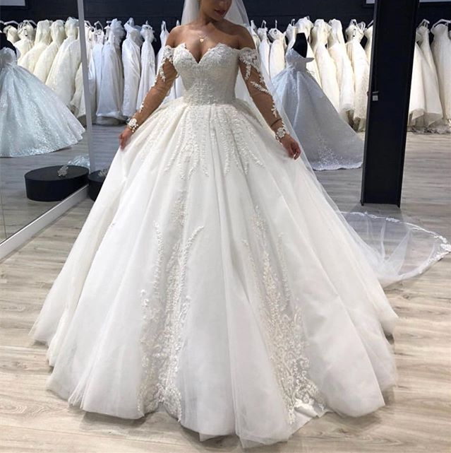 Wedding Dresses With Sweetheart Neckline And Sleeves: Elegant Long Wedding Dress 2019 Sweetheart Neck Long
