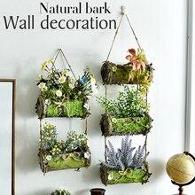 1 шт., настенный подвесной слой, натуральная деревянная корзина из коры, искусственные цветы, роза, лаванда, Подсолнух, украшение для дома, магазин, искусственный цветок