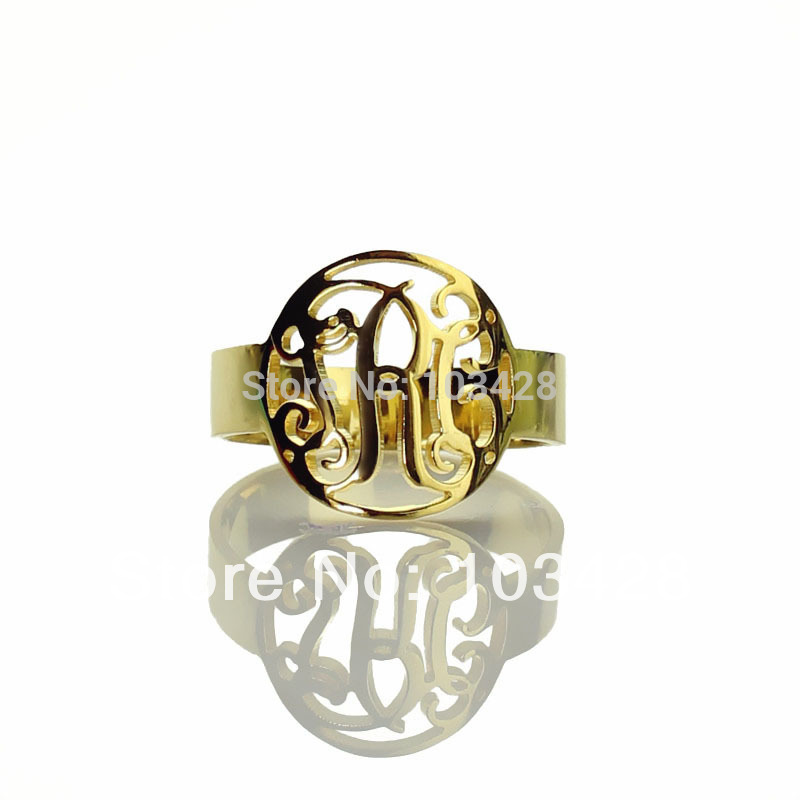 AILIN Personalized Cut 3 Monogrammed Initials In Circle Monogram Ring Gold Color Name Round RingsAILIN Personalized Cut 3 Monogrammed Initials In Circle Monogram Ring Gold Color Name Round Rings