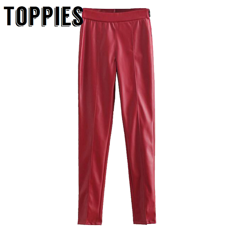 2019 Women Spring Slim Faux Leather Pants High Stretch Trousers Solid Color High Waist Skinny Pencil Pants Pantalones Mujer