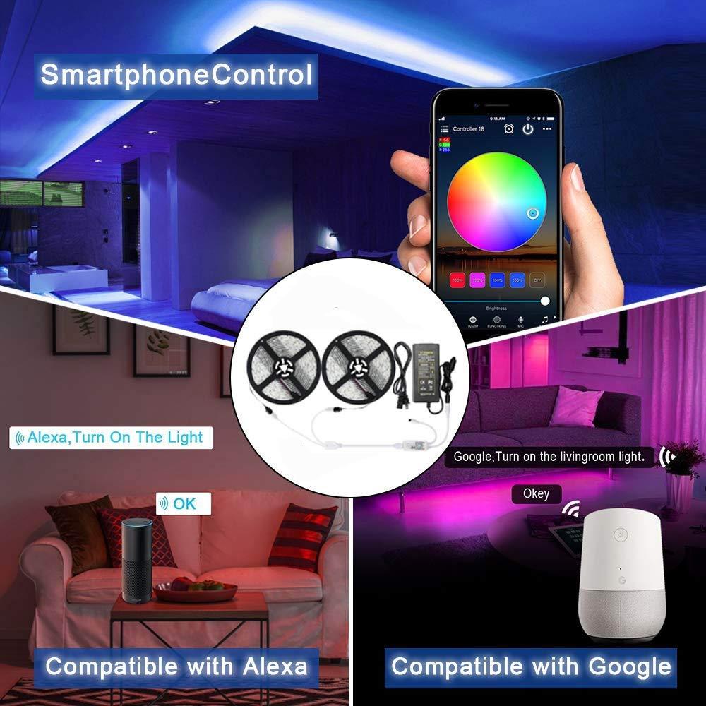 5050 RGB LED Strip Phone Control Wireless WiFi Tape Works With Amazon Alexa Google Home IFFFT 5050 RGB LED Strip Phone Control Wireless WiFi Tape Works With Amazon Alexa Google Home IFFFT DC 12V Flexible Strip Light+Power