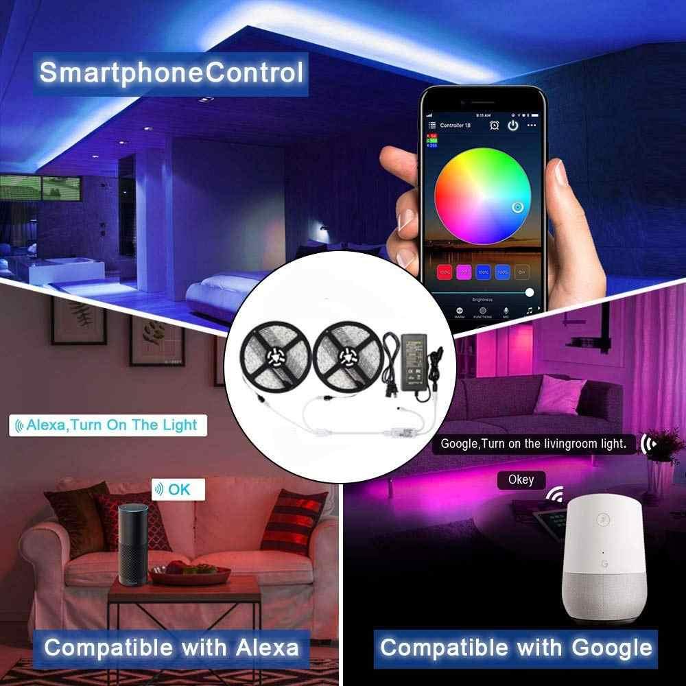 5050 RGB LED רצועת טלפון שליטה אלחוטי WiFi קלטת עובד עם אמזון Alexa Google בית IFFFT DC 12V גמיש רצועת אור + כוח