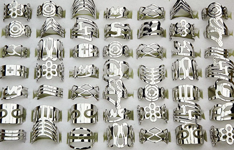 50Pcs Adjustable Size Silver Plated Tattoos Finger Rings Toe Ring For Women Girl Mix Style Wholesale Jewelry Lot LR129