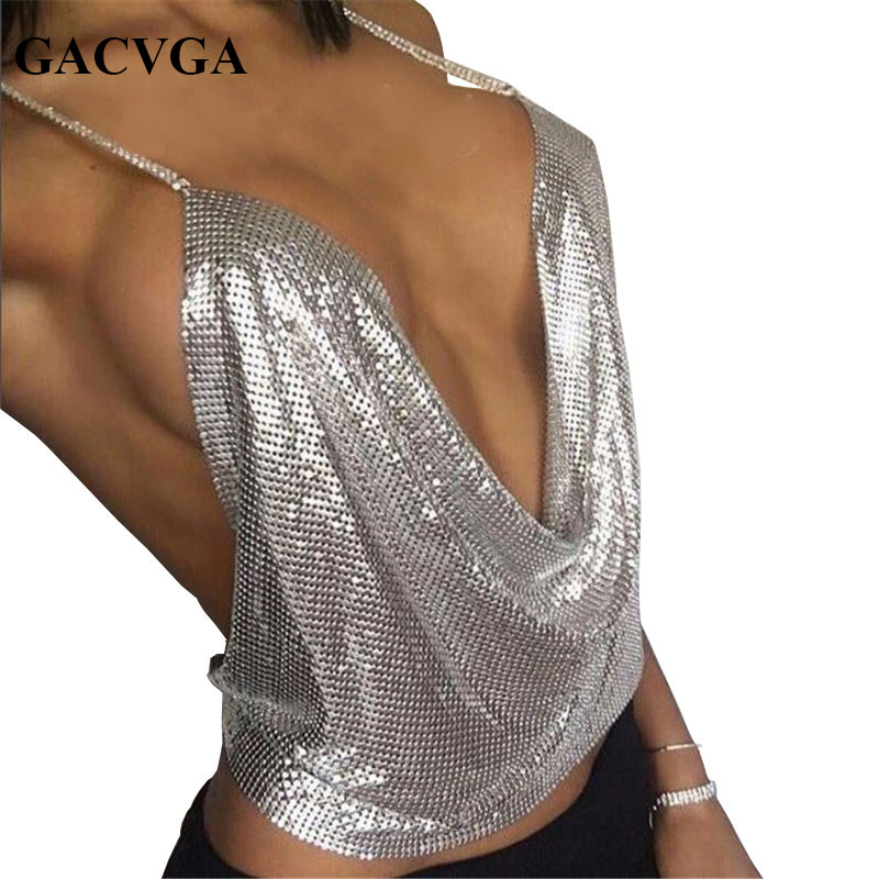 GACVGA 2019 Sexy Backless Pailletten Frauen Crop Tops Halter Tank Camis Sommer Cropped Bh Crop Top Strap Damen Party Weste Blusa