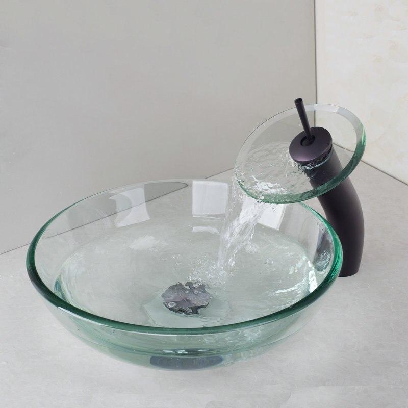 nueva aceitado bronce cascada grifo de lavabo cuenco de cristal lavabo del bao