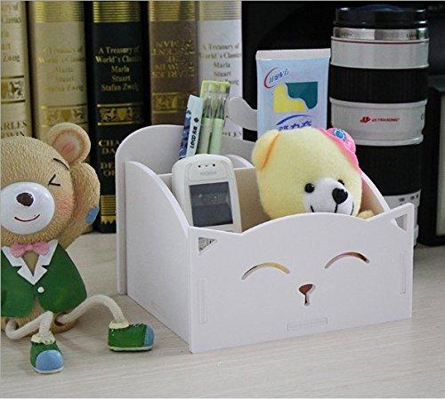 White Diy Cute Pvc Cat Desktop Organizer Home Office Supplies Storage Holder Decor For Pen