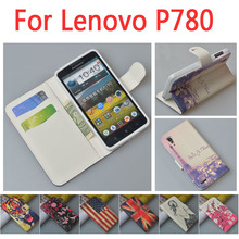 Business luxury leather case for Lenovo P780 P 780 flip cover case housing With card slot