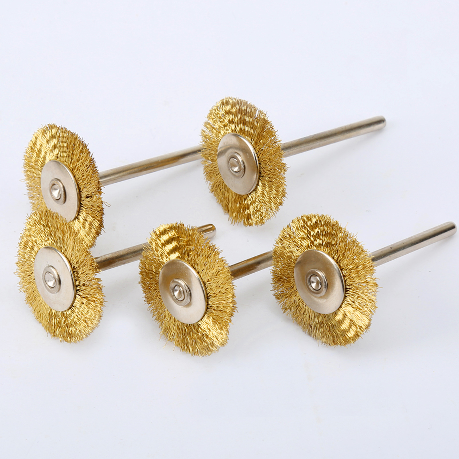 DRELD 5PCS 25mm Brass Wire Wheel Brushes Dremel Accessories Mini Drill Polishing Grinding For Grinder Rotary Tools 3.17mm Shank