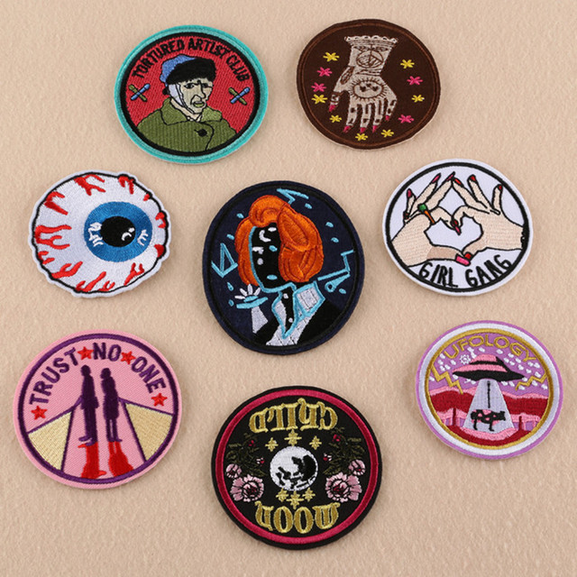 fashion brand logo patch round badge applique embroidery iron on