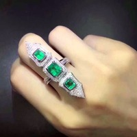Anillos Qi Xuan_AAA зеленый камень Rings_Fashion Ring_S925 Твердые Щепка зеленый камень геометрический Rings_Manufacturer прямые продажи