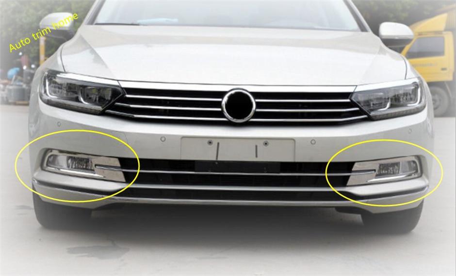 For Passat B8 2015-2019 Stainless Steel Front Fog Light Lamp Cover Decorative Trim 2pcs Car Stytle Accessoies