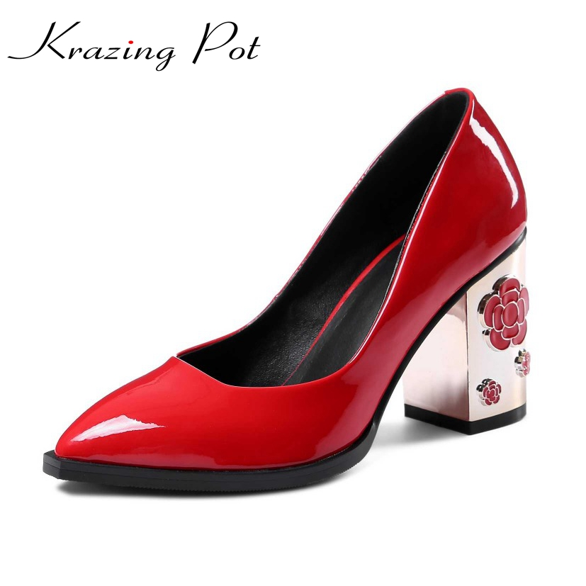 krazing pot flower metal heels genuine patent leather slip on super high-heels pointed toe women brand shoes luxury big size L19 krazing pot 2017 fashion brand shoes patent genuine leather slip on pointed toe preppy style flower med heels women pumps l12