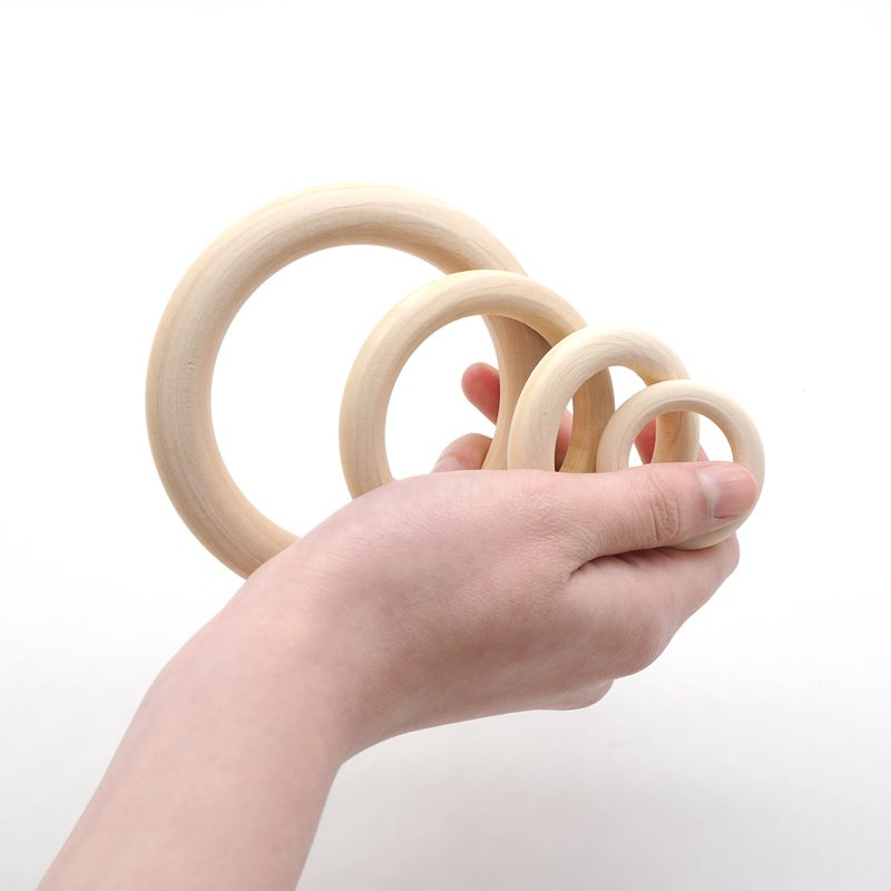 Купить с кэшбэком Chenkai 10cm 50PCS Natural Wood Unfinished Wood Rings Wooden Teethers For DIY Infant/Baby Necklace Bracelet Accessories