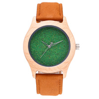 Leisure fashion leather belt quartz men's watch wooden unisex women's watches clock wristwatch