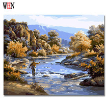 Picture On Wall Fishing Painting Drawing By Numbers Abstract  Gift DIY Beautiful Coloring