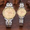 Longbo Moda Marcas de Luxo Relógio de Ouro Inoxidável Completa Aço Data de Exibição Waterproof Casal Amante Relógios de Pulso para Mulheres Dos Homens