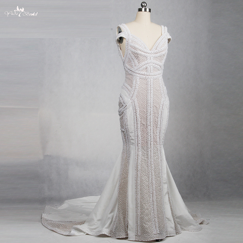 RSW1163 Yiaibridal High Quality For Africa Women Heavy Beaded Pearls Sexy Wedding Dress Mermaid Vestidos De