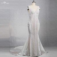 RSW1163 Chất Lượng Cao Nặng Beaded Pearls Sexy Wedding Dress Mermaid Vestidos De Noiva De Luxo 2017