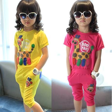 New Summer Girls Clothing Set Kid Cartoon Fashion Suit 2PCS Cotton Cloth Set Children Cloth Suit Top T shirt + Pants
