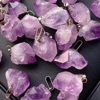 50PCS/Lot Shape Irregular Random Treat Amethysts Pendant Purple Quartz Chakra Reiki Natural Stone Point Pendulum Free Shipping