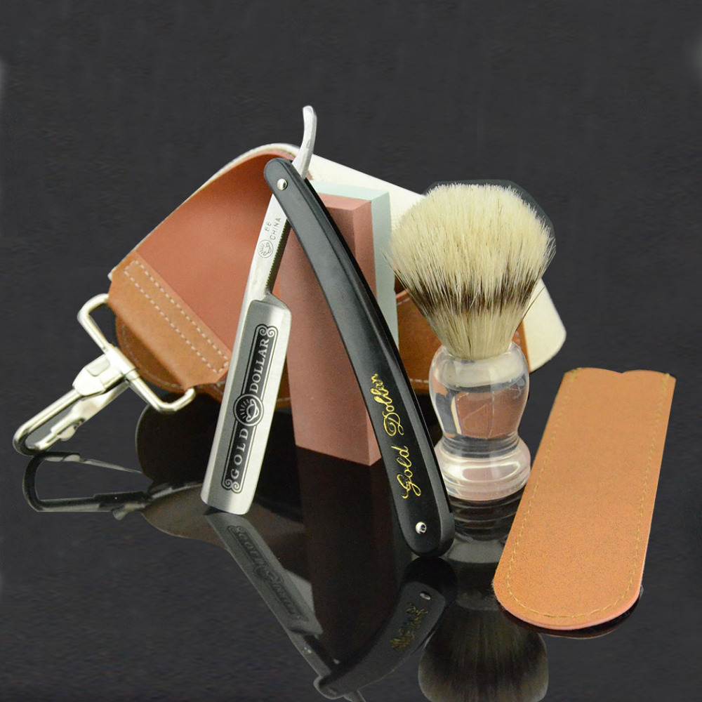 ZY Gold Dollar Classic Straight Shaving Razor Leather Strop Sharpening Whetstone Bristle Hair Shave Beard Brush Men Shaving Set zy fine 3000 dual whetstone water stone sharpener sharpening huge 49 80 231mm