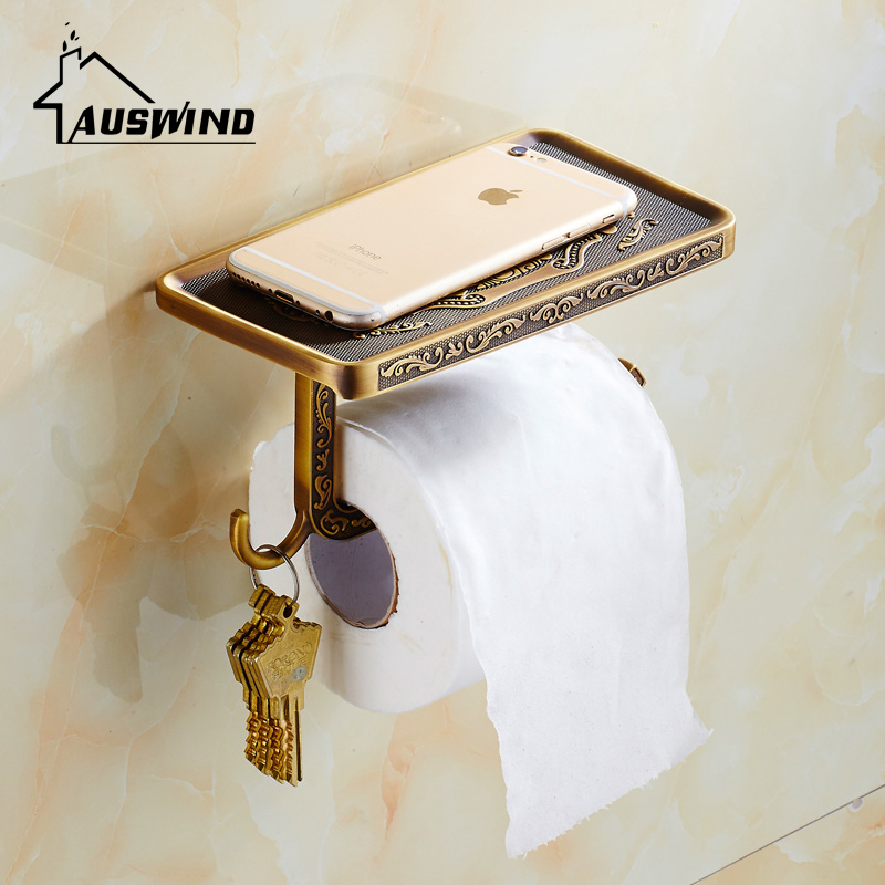 Patty Carved Antique Toilet Paper Holder With Multifunctional Mobile Phone Rack Toilet Paper Holder Bronze Bathroom Roll Holder antique bronze suspension carved paper towel rack europe white bathroom paper holder toilet paper box toilet accessores sl 5908f