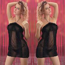 Women Sexy Black Lingerie Babydoll Halter Dress Sequin Chemise Nightie M-XL 8-14