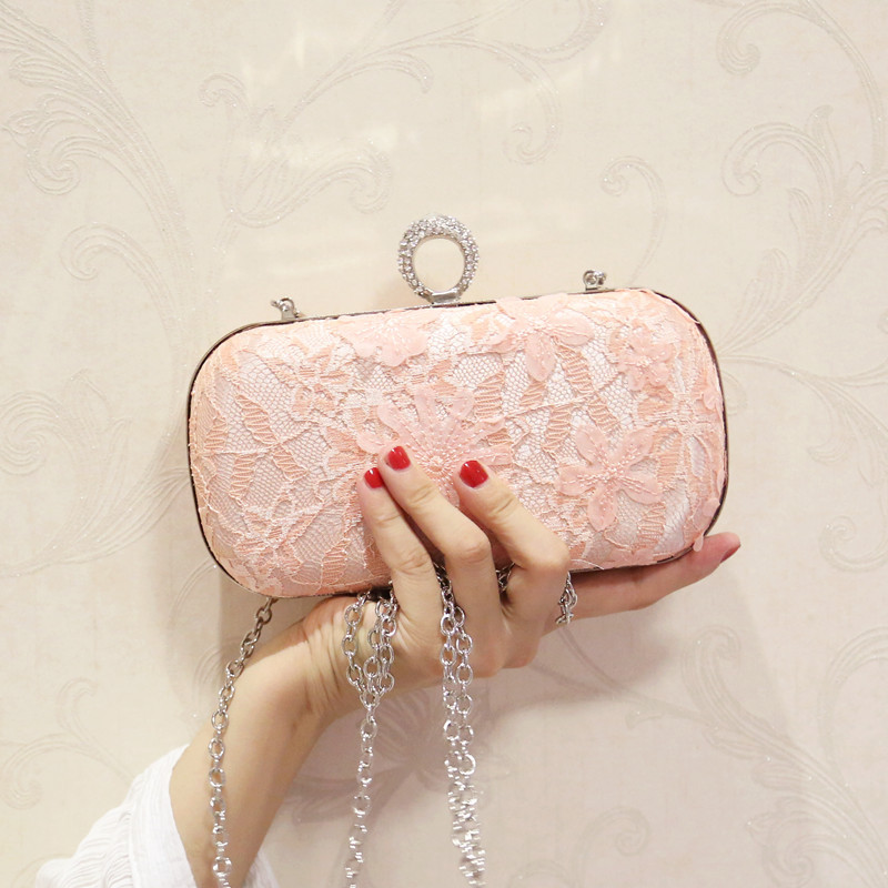 New and Fashionable Silk Bag Decorated with Lace and Diamonds, Chain Bag, Mini Square Bag, Shoulder Bag flower decorated bag accessory