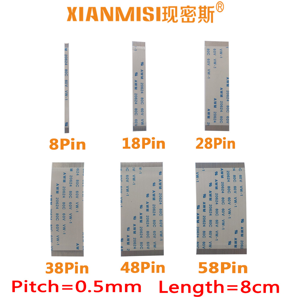 150mm 36Pin 0.5mm Pitch FFC FPC Flexible Flat Cable Same Side AWM 20624 80C 60V