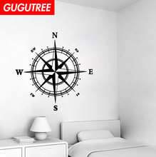 Decorate 60x60cm black compass art wall sticker decoration Decals mural painting Removable Decor Wallpaper LF-139